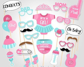 Baby Shower Photo Booth Props - Printable Photo Booth Props - It's a Girl Baby Photobooth Props - Team Pink Baby Blue Printable Party Props