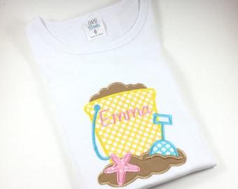 Personalized Beach Shirt, Monogrammed Beach Shirt, Embroidered Beach Shirt, Custom Beach Shirt, Sand Pail & Shovel Beach Shirt