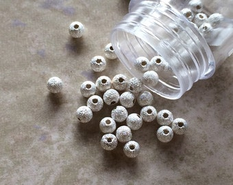 4mm Round Stardust Bead with 1.3mm Hole ~ .925 Sterling Silver Beads ~ (#045) Sparkle, Glitter