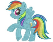 My Little Pony Embroidery Design - Rainbow Dash My Little Pony - Pony Embroidery -  Fill Stitch Design - in 3 size 3x3 4x4 5x5 embroidery