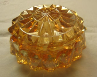 Windsor Diamond Powder Jar by Jeannette Glass Company Marigold