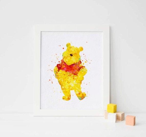 Winnie The Pooh Wall Art winnie the pooh print - watercolor winnie the pooh wall art winnie