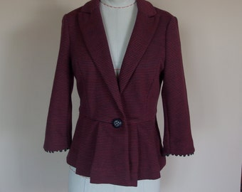1970s Knit Jacket with pleated peplum, notched collar, 3/4 Sleeve
