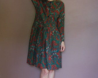 Talbots Maggy London Paisley Cotton/Polyester Dress X-Small