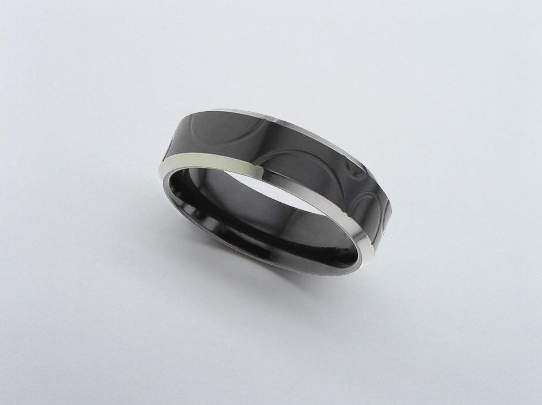 black zirconium ring black wedding band black zirconium