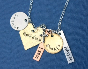 Grandmother Necklace Mothers Day 4 Name Necklace Mixed Metal Necklace Mothers Necklace Stamped Necklace Grandchildren Necklace