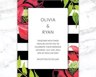 Bold modern floral wedding invitation