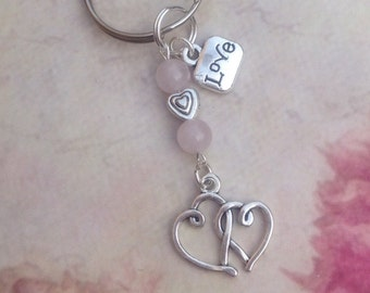 Rose Quartz Love Heart Keyring.Rose Quartz Keyring. Heart Keyring.Rose Quartz Keychain.Mothers Day Gift.Love Keyring.Heart Keyring.Love.Pink