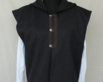 Men's Renaissance Vest, Men's Rustc Vest ,Victorian Vest, Men's Vest Medieval noble black vest