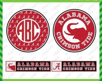 Alabama Crimson Tide Monogram Frames SVG DXF PNG eps Cut Files for Cricut Design, Silhouette studio, Sure Cuts A Lot, Makes the cut