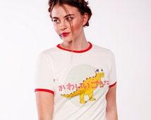 Сute Godzilla print cottont-shirt, Free Shipping, cute dino, japanese style, kawaii style t-shirt, vintage style t-shirt