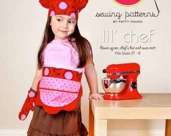 ModKid Pattern - Lil' Chef - Paper Sewing Pattern for Girl's Apron, Chef Hat and Oven Mitt
