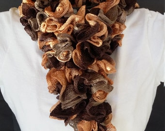 Crochet Ruffle Scarf - Item JB116
