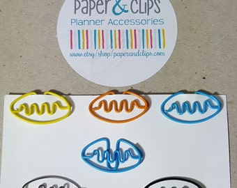 5 Football Paper clip in Various colors