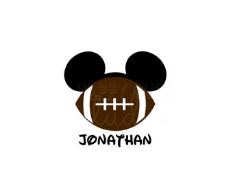 Personalized Football Sports Hat Mickey Mouse Disney Cheer Matching Father Son Family Iron On Decal Vinyl for Shirt 080