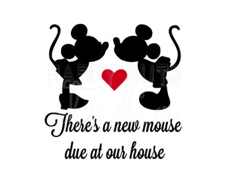 There's a New Mouse Due at Our House Pregnancy Announcement Surprise Couple Maternity Mickey Minnie Mouse Disney Iron On Decal for Shirt 302