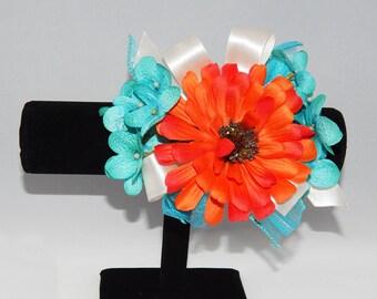 Turquoise & Orange Daisy Corsage