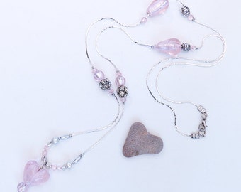 Rosaris. Pink heart necklace