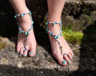 "Barefoot sandals ""blue drops"""