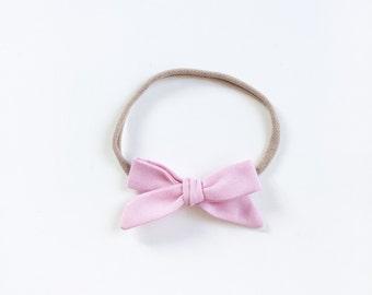 "Baby headband with Ribbon - ""Lia"" baby pink hair bow"