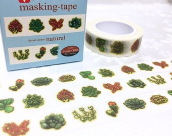 Succulent plant washi masking tape 10M x 1.5CM cute plant fat plant Green plant potted plant diary sticker tape gardening planner decor gift