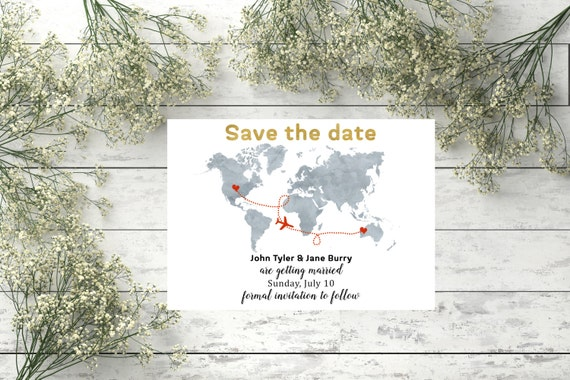 Save the date destination wedding card World map wedding save