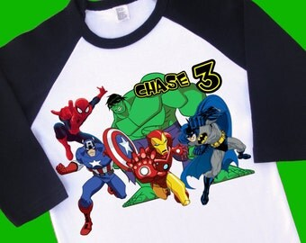 Super Heroes Birthday Shirt. Personalized Raglan with Name & Age. [Captain America, Iron Man, Spider Man, Batman, Hulk]  (35077)