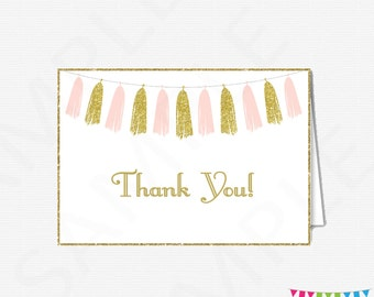 Pink and Gold Thank You Cards, Baby Shower Thank You Cards, Girl Baby Shower, Printable Thank Yous, Thank You Cards, Instant Download, TASPG