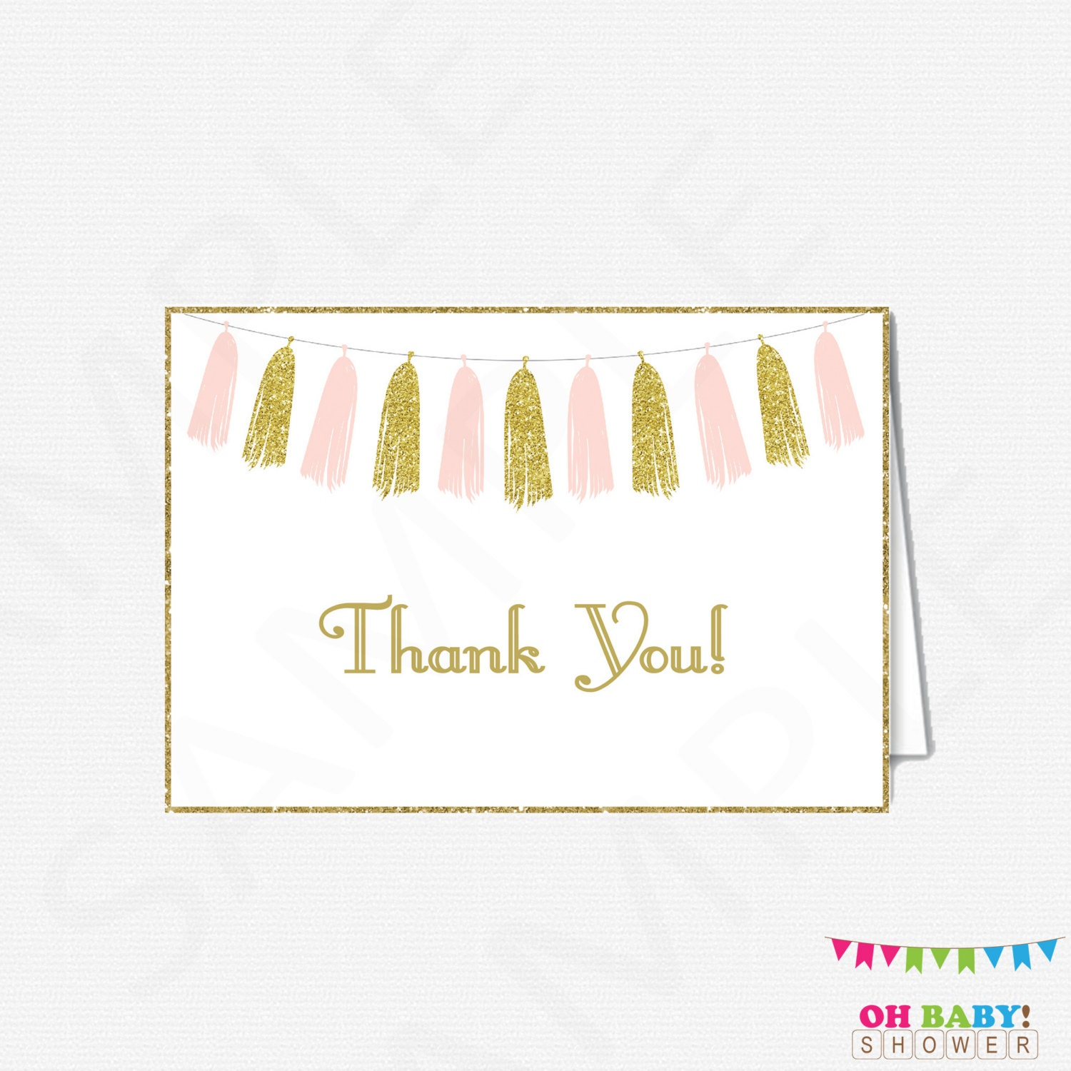 pink and gold thank you cards baby shower thank you cards