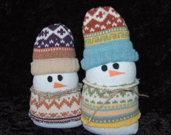 Snow Buddies - 2 sock snowmen with wool sweaters and hats
