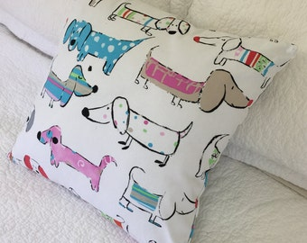 Sausage Dog Dachshund Cartoon- Cushion Cover on White Background 45 x 45 cm