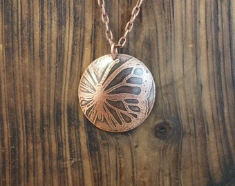 Etched Copper Wing Metalwork Necklace