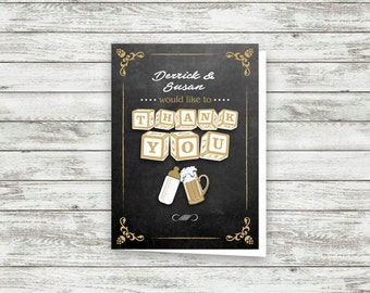 Thank You Card - Greeting Card - BABY BREWING - baby shower thank you - Printable