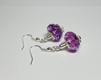 Silver One-Bead Earrings for European Beads & Charms