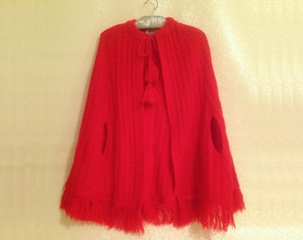 Crocheted Vintage Red Cape Shawl