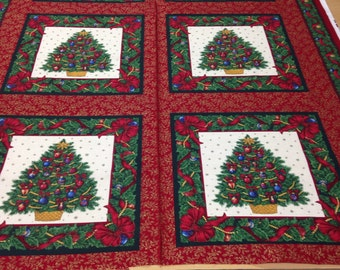 Christmas Fabric Panel christmas tree christmas town cotton fabric