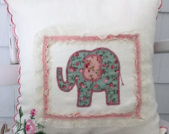 Elephant Pillow Cover, Appliqué Elephant, Vintage Cloth with Hand Embroidery, Linen Pillow Cover, Off-White Lace, Pink Scallop Border,