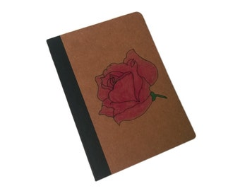 A6 Brown Kraft Hand drawn and Painted Pink Rose Lined Note Book Journal