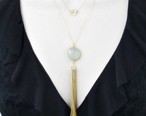 Layered Necklace, Aquamarine Necklace, Initial Necklace, Tassel Necklace, Gold Necklace, Double Strand, Personalized Womens, Gifts for Her