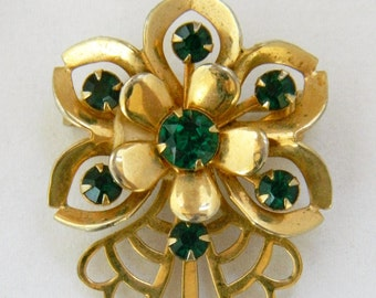 Vintage 60s Flower Brooch, 60s Rhinestone Brooch, 60s Flower Pin, Rhinestone, Gold Tone, Mid Century, , Mod, Retro, Costume Jewelry