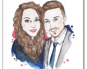 Custom Couple Portrait Ink and Watercolour Illustration for Bethany