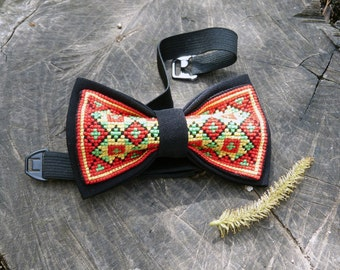 Red Embroidered hutsul Bow Tie - Red Bow Tie with cross-stitch - Red Ukrainian bow tie - Black Red BowTie - Red Bowtie with embroidery
