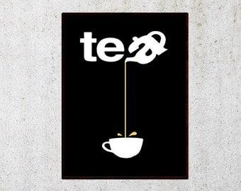 Tea print, Kitchen print, Printable poster, Dining room wall art