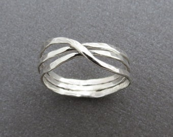 Unique Silver ring, Silver band, infinity ring, Hammered ring, silver wedding ring, handmade ring, silver infinity ring