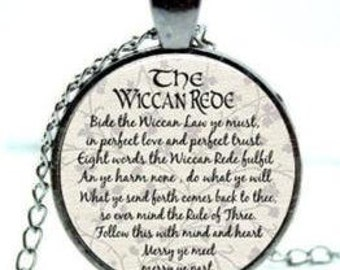 The Wiccan Rede Cabochon Glass Dome Pendant Necklace In Gun Metal Tone.
