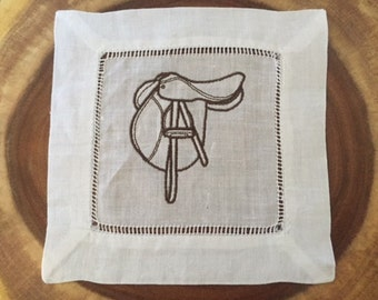The Saddle Club - Embroidered Linen Cocktail Napkin Set