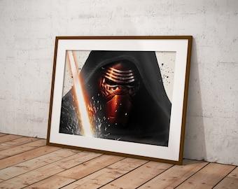 Star Wars, Kylo Ren Poster, Star Wars Poster, Star Wars Art, Star Wars Gifts, Star Wars Print, Movie Poster, Fan Art OC-46