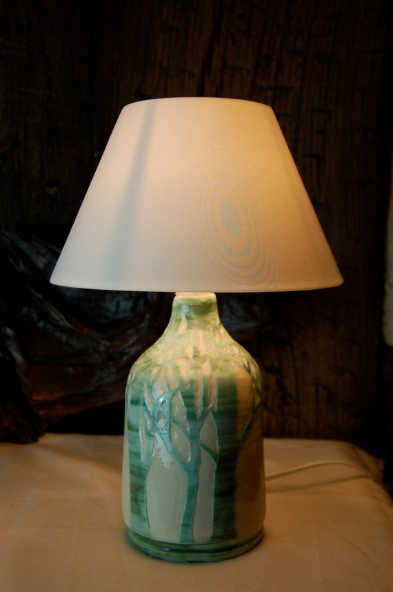 Ceramic Lamp Base Wheel Thrown With Hand Carved Decoration