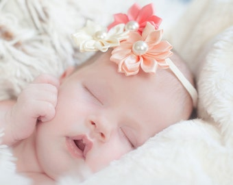 Baby headband, newborn headband prop, newborn photo prop, baby girl headband, baby hair accessories, flower headband baby, baby hair bows