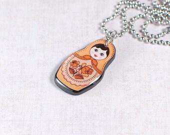 Matryoshka Pendant Orange Matryoshka Necklace Matryoshka Doll Pendant Russian Doll Necklace Matryoshka Jewelry Orange Babushka Pendant Gift
